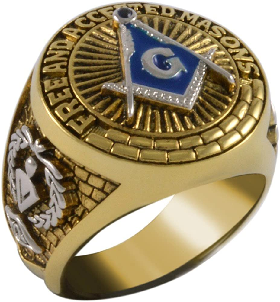 Square And Compass Masonic Blue Stone Free and Accepted Masons Ring Yellow Version 18k Gold Pld BR-18