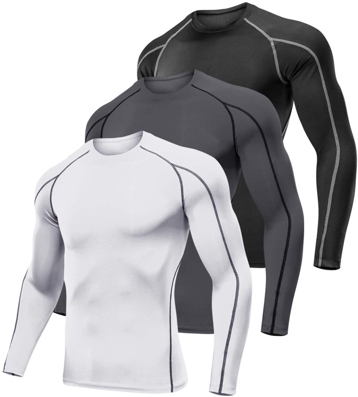 Lavento Men's 3 Pack Compression Shirts Baselayer