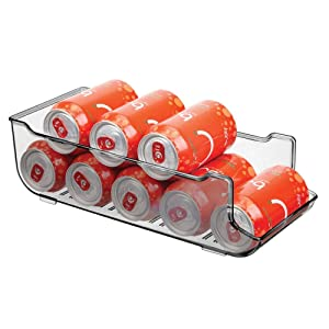 mDesign Large Plastic Pop/Soda Can Dispenser Storage Organizer Bin for Kitchen Pantry, Countertops, Cabinets, Refrigerator - Holds 9 Cans - BPA Free, Food Safe - Smoke Gray