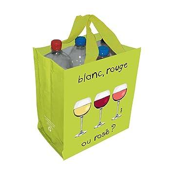 "Diseño Francia botella y vino bolsa de transporte para 6 botellas – ""Blanc,"