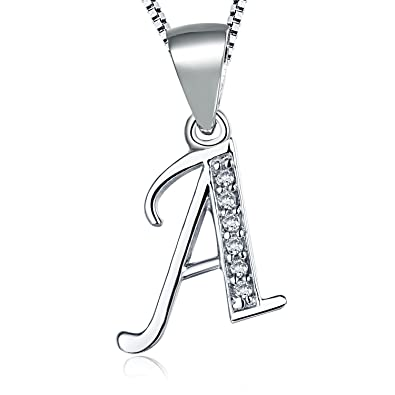 Aurora Tears 925 Sterling Silver Letter Initial Alphabet White Gold Plated Pendant Necklace 18 6SBOFxIAHA