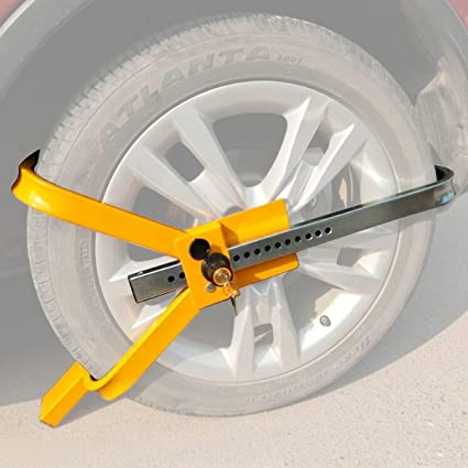 Yellow Anti-Theft Tire Lock HOMGX Wheel Lock Security Towing Tire Clamp Suitable for Trailer Auto Car Truck Tire Locking