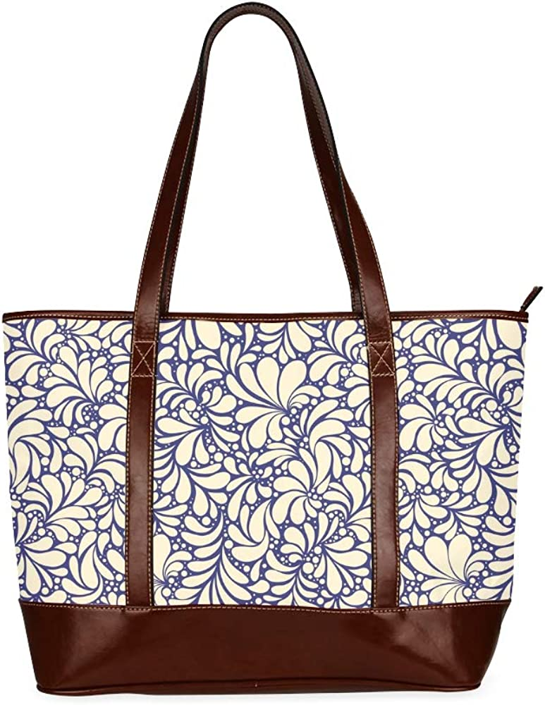 Tote Bags Yellow And White Textile Ornament Seamless Vector Travel Totes Bag Fashion Handbags Shopping Zippered Tote For Women Waterproof Handbag