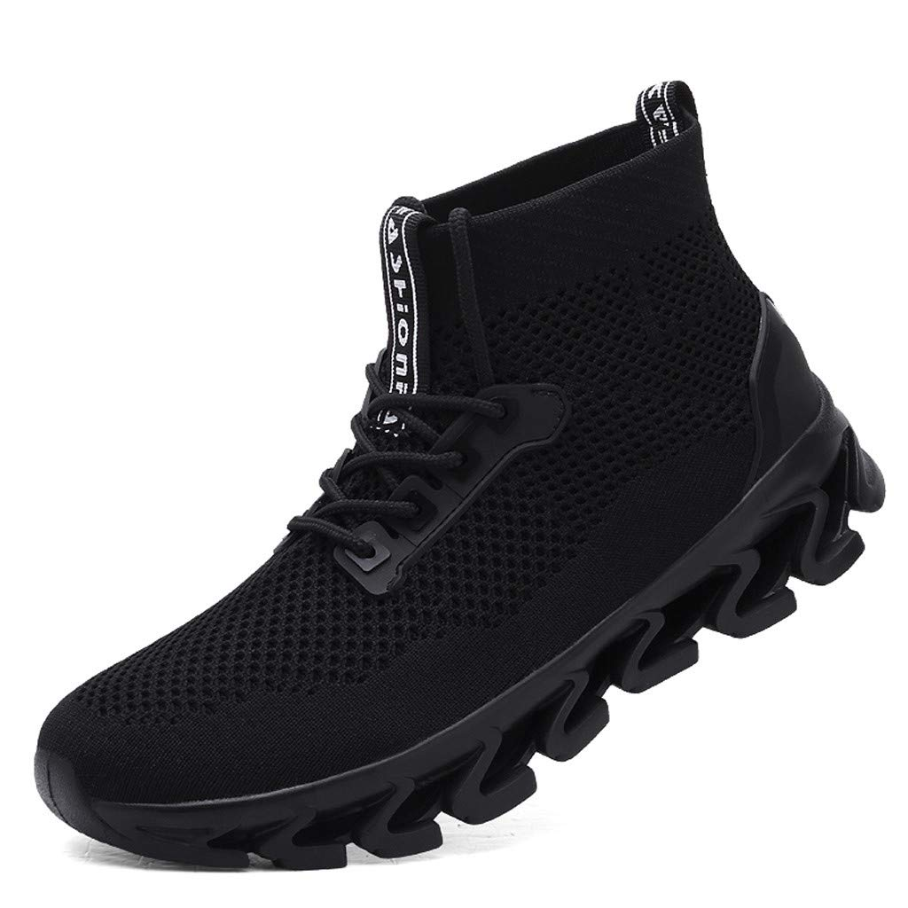 2019 New!! Respctful ♫♫Men's Fashion High Top Sneakers Mesh Breathable Youth Walking Shoes for Casual Outdoor Black