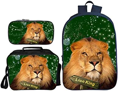 Asdfnfa Backpack Children's Three-Piece Suit 3D Printing Starry Sky Lion King Primary School Bag with Lunch Bag and Pencil Case (Color : 6)