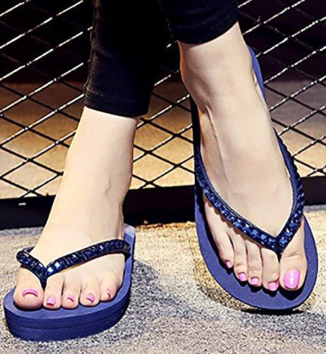 Pantofole Di Sandali Della Spiaggia Della Piattaforma Di Infradito Della Cinghia Di Vibrazione Di Estate Del Pattino Di Estate Delle Donne Di Sfnld Blu