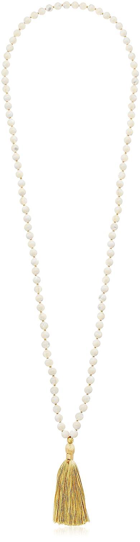 Satya Jewelry Classics Plate Lotus Tassel Mala Strand Necklace, 40