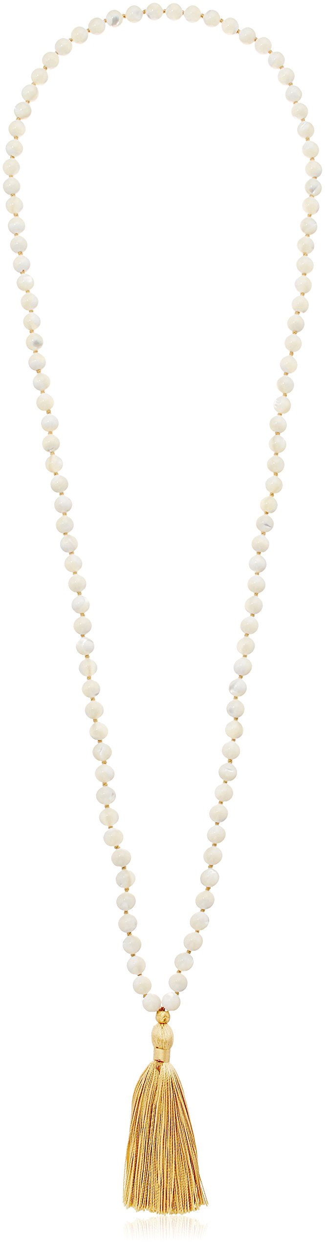 Satya Jewelry Classics Mother of Pearl Gold Plate Lotus Tassel Mala Strand Necklace, 38''