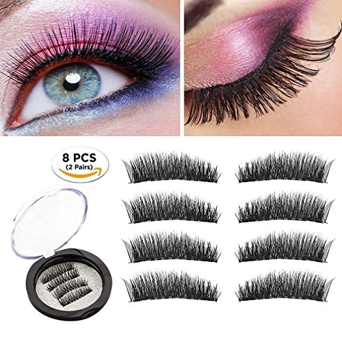 c24b67d488a Magnetic Eyelashes Dual Magnetic False Eyelashes 3D Reusable Fake Magnet  Eyelashes, No Glue 0.2MM