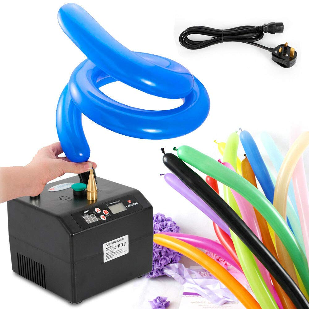 GDAE10 Electric Air Balloon Pump, B23 Lagenda Portable Electric Balloon Pump Balloon Inflator Party Air Blower Electric Balloon Blower Pump with Timer Battery for Party Events Decoration (US Stock)
