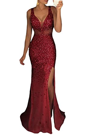 MARSEN Womens Beaded Side Slit Prom Gown V Neck Backless Long Evening Dress Burgundy Size 2