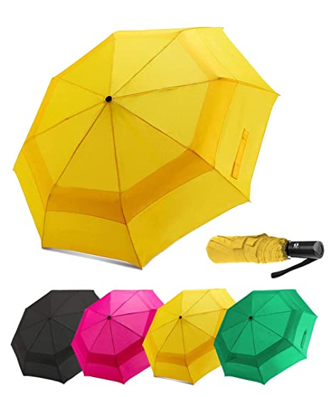 e2bc6b8565d8 LANBRELLA Compact Travel Umbrella Vented Double Canopy Windproof Auto Open  Close