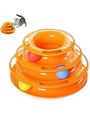 JCT Roller Katzenspielzeug- Interaktives Katzen Spielzeug Kreisel mit Ball - Dreistöckige Interaktive Drehscheibe Ball Ballfangspielzeug,3 Etagen, fördert die Intelligenz
