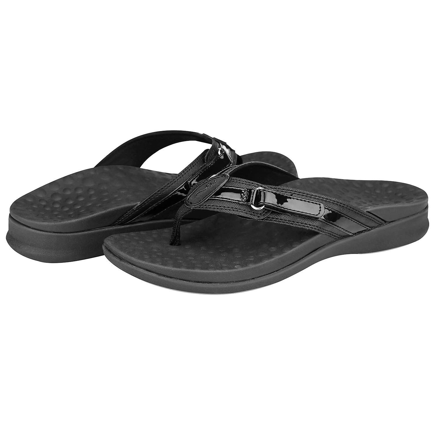 Footminders Seymour Women's Orthotic Sandals - Orthopedic Arch Support and Comfort (US Women's 8, Black) by Footminders