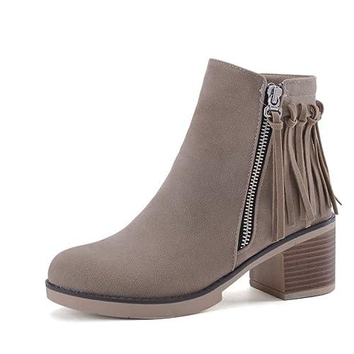 mostrin para mujer flecos borla de Chunky y punta redonda talón vaquero occidental tobillo botines: Amazon.es: Zapatos y complementos