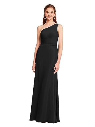 AWEI Maxi Bridesmaid Dress Long Chiffon Formal Dress 2018 Pleated One Shoulder Prom Dress For Women