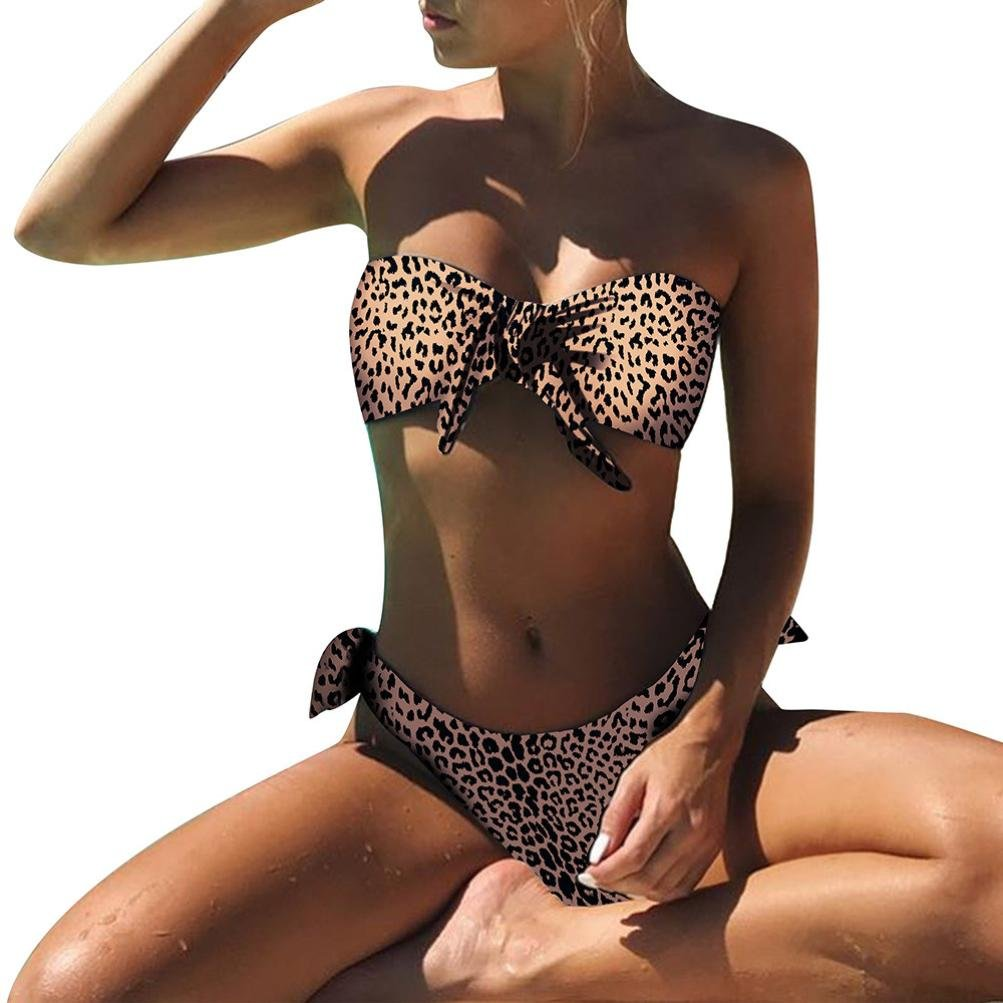 Hunzed Women Bikini { Leopard Printed Swimsuits } { Two Pieces Swimming Bathing Suit } { Bow Tankini Swimwear } Beachwear Monokini (Brown, L)