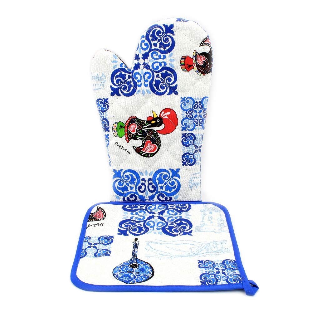 Limol 100% Cotton Oven Mitt and Pot Holder Set with Portuguese Tile Pattern