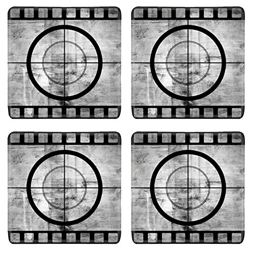 Luxlady Square Coaster Vintage movie film strip with countdown border over grunge background IMAGE 28712210 Customized Art Home Kitchen