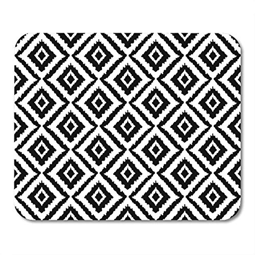 Nakamela Mouse Pads Moroccan Black Arabic Abstract Tribal Ethnic Ikat Folk Geometric Design White Embroidery Sketch Mouse mats 9.5