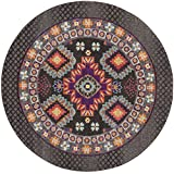 Safavieh Monaco Collection MNC240B Modern Bohemian Geometric Brown and Multi Distressed Round Area Rug (6'7″ Diameter) For Sale