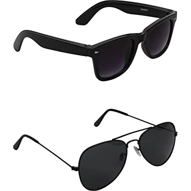 a47da26b115 Dervin Combo of 2 Wayfarer   Aviator Sunglasses for men and women  Amazon.in   Clothing   Accessories