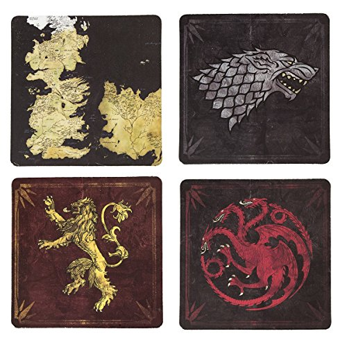 Game of Thrones Cork-Back Coaster Set, Multicolored (Assorted) ()