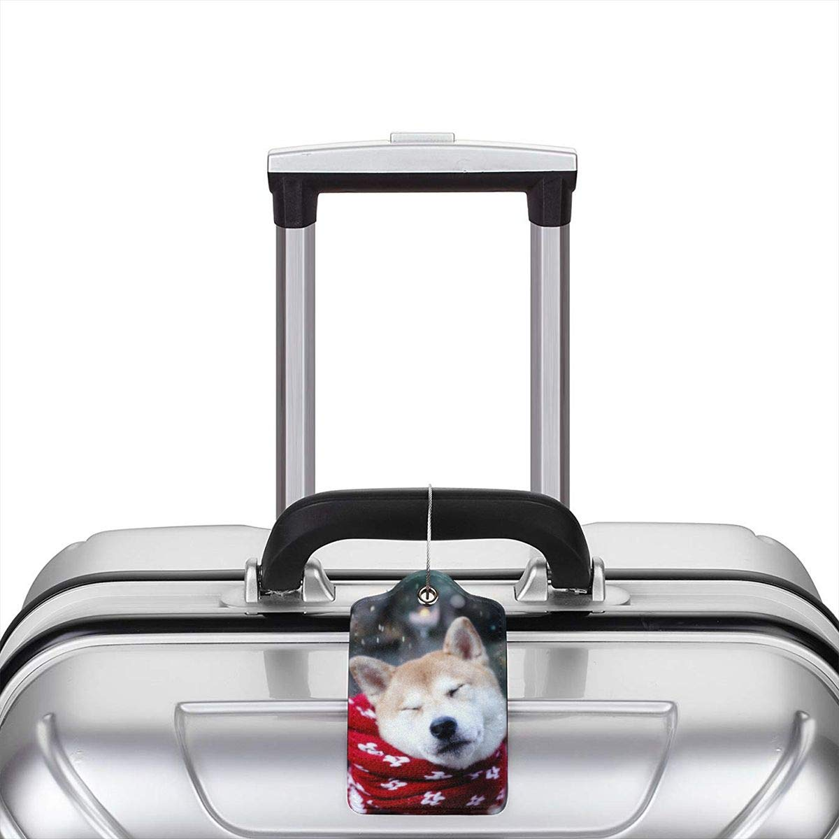 Akita Of Snow Travel Luggage Tags With Full Privacy Cover Leather Case And Stainless Steel Loop