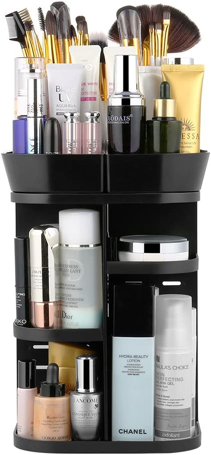 Jerrybox 360 Rotation Makeup Organizer, Adjustable Beauty Organizer Storager for Countertop, Multi-Function Cosmetic Storage Drawers, 6 Layers, Square, Black