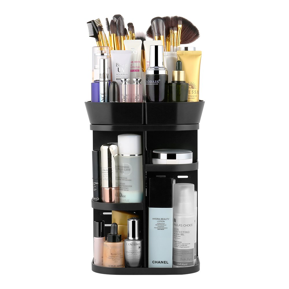 Jerrybox 360 Rotation Makeup Organizer, Adjustable Beauty Organizer Storager for Countertop, Multi-Function Cosmetic Storage Drawers, 6 Layers, Square, Black by Jerrybox