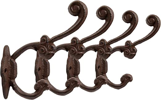 """8 BROWN ANTIQUE-STYLE DOUBLE BALL COAT HOOKS 4/"""" CAST IRON rustic wall hardware"""