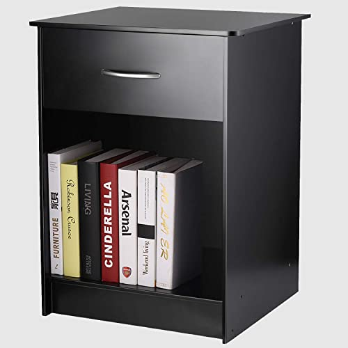 INTEY Modern Black Nightstand Bedside Table