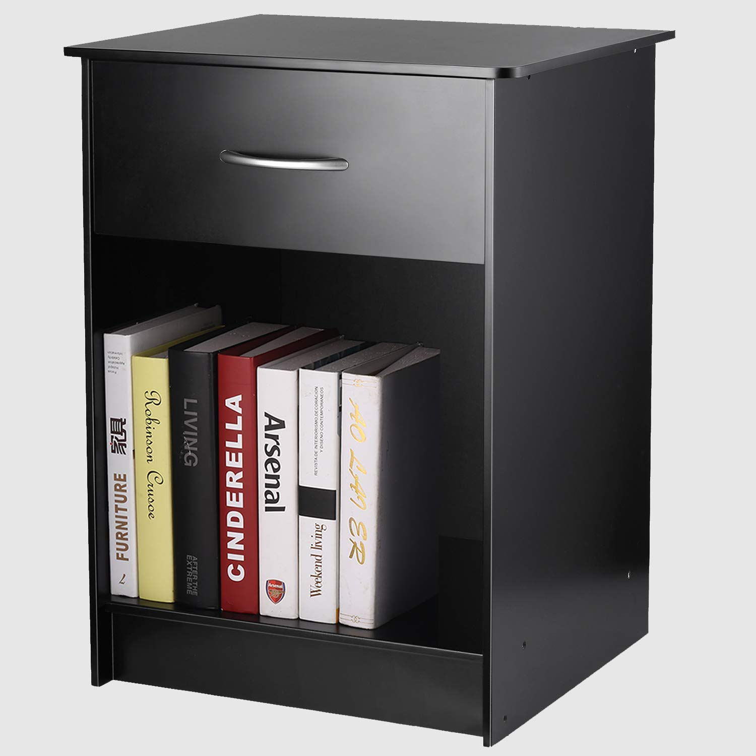 INTEY Modern Black Nightstand/Bedside Table with Drawer and Open Shelf, MDF Tall Bedroom End Table by INTEY