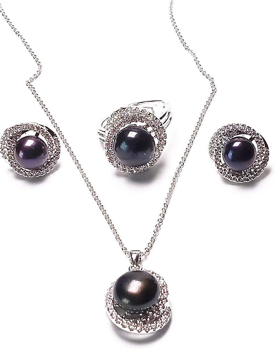 yigedan - Juego de 3 Pendientes y Collar de Perlas de Agua Dulce de Color Negro Natural para Mujer, Juego de Plata de Ley 925