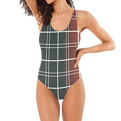 d620da8402e38 Image Unavailable. Image not available for. Color: Vintage Check Pattern  Swimwear ...