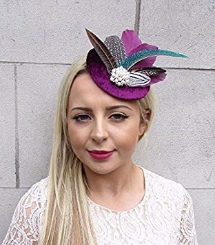 Starcrossed Boutique Berry Plum Purple Pheasant Feather Pillbox Hat  Fascinator Hair Clip Races 3729  Amazon.co.uk  Beauty 7abc67516eb