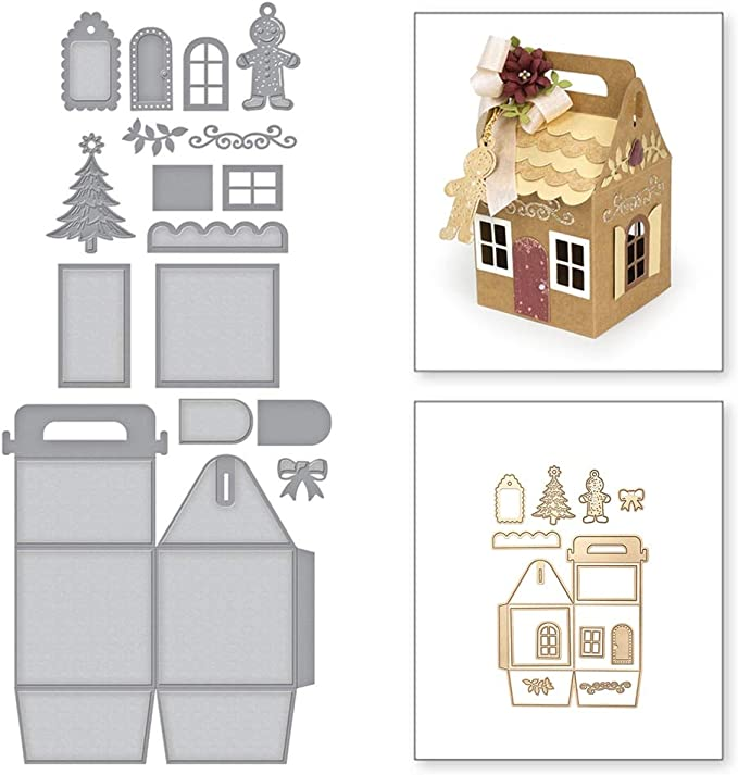 Amazon.com: Cutting Dies - Christmas House Shaped Gift Bag Craft Dies Metal Cutting Die Diy Ornaments Decorative Mold - Thank Box Cut The Bow Making China Used Stamp Gift