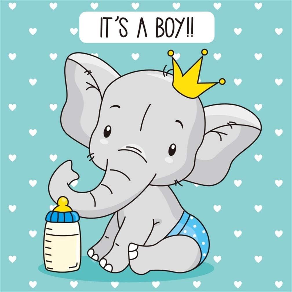 10x8ft Cartoon Cute Yellow Calf Elephant Sleeping On Big Nose Backdrop Vinyl Baby Shower Photography Background Child Baby Bday Party Banner Cake Smash Girl Boy 1st Birthday Photo Shoot
