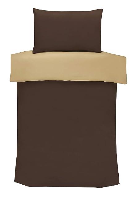 Juego de funda de edredón y fundas de almohada reversible de Impressions, 100% poliéster, marrón, crema, suelto