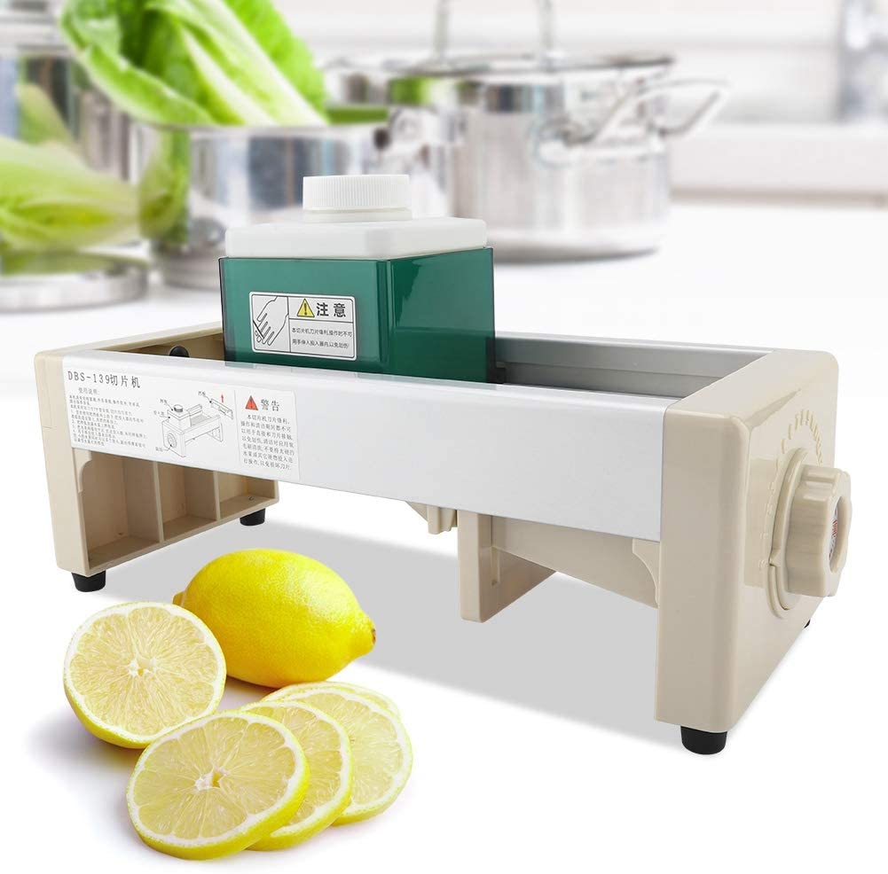 Slicer,Commercial Adjustable Thickness Fruit and Vegetable Slicing Machine Shop Bar Restaurant Use Vegetable Julienner Adjustable Thickness and Onion Tomato French Fry Cutter