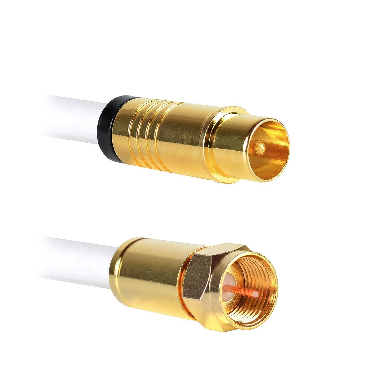 15m Antennenanschluss TV Kabel 135dB 5-fach 100/% Kupfer IEC Stecker auf Kupplung