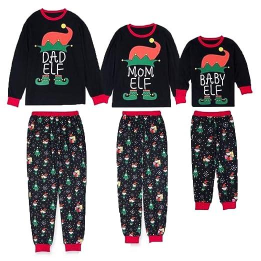 b31e00f6f3 Family Matching Christmas Pajamas Set Long Sleeve Elf Print Winter Pajamas  Adults Kids PJs Sleepwear Nightwear
