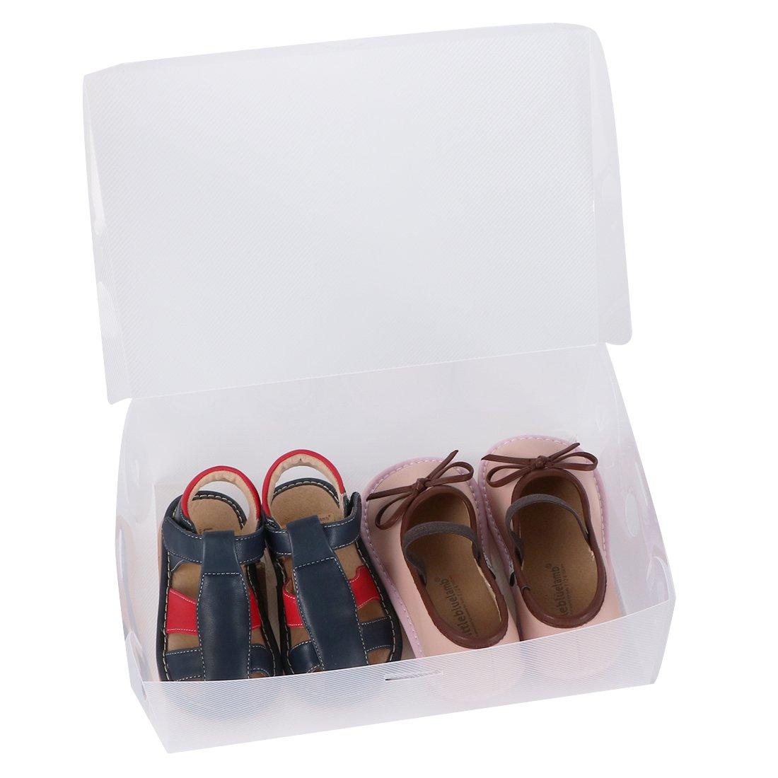 kilofly 15 Kids Women Smart Storage Containers Foldable Clear Shoe Box Set TRTAZ11A Small