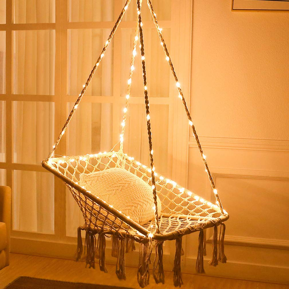 KINDEN Hammock Chair with Lights - Cotton Square Shape for Patio Bedroom Balcony