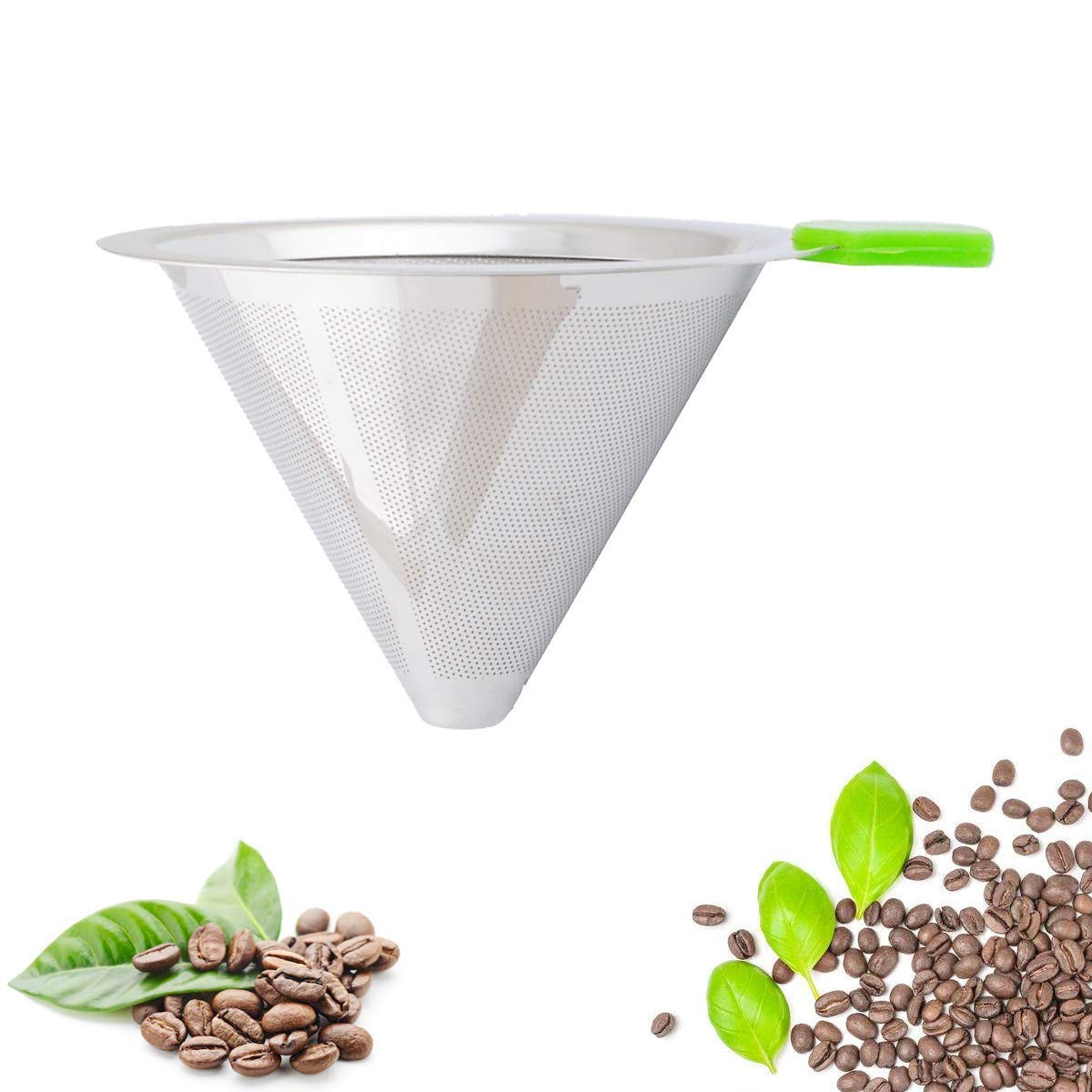 Ketofa Pour Over Coffee Filter Stainless Steel Coffee Drip Cone with Separate Stand and Silicone Handle Paperless Reusable Coffee Brewer Maker for 1-4 Cups