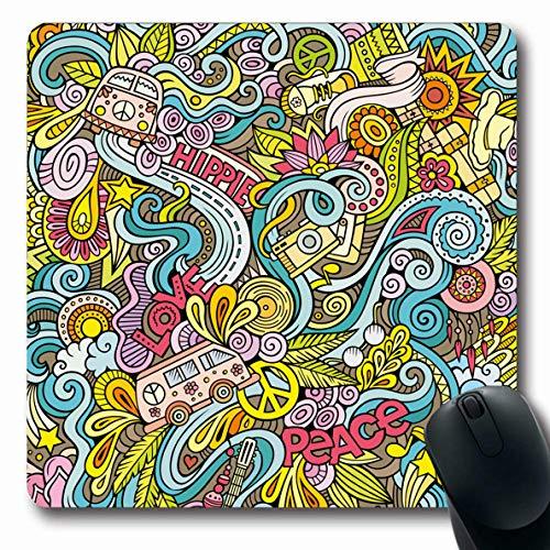 Ahawoso Mousepads Journey Love Handdrawn Doodles On Subject Hippie Dream Peace Vintage 60S Hippy Marijuana Van Music Oblong Shape 7.9 x 9.5 Inches Non-Slip Gaming Mouse Pad Rubber Oblong Mat ()
