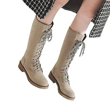 14508e4e49e57 Amazon.com: Women's Flat Shoes Middle Tube Flock Lace-Up Boots Round ...