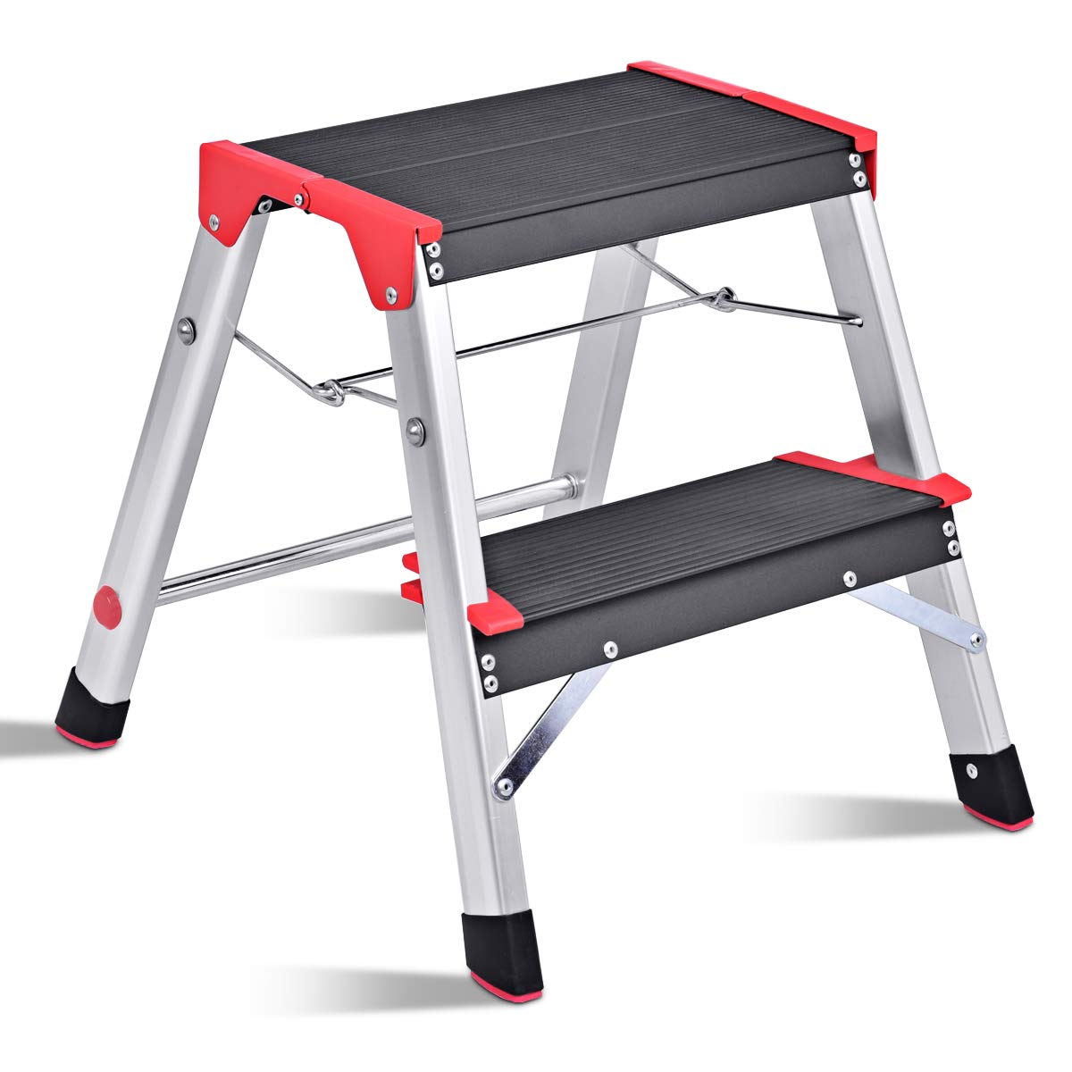 Giantex Aluminum 2 Step Ladder Folding Non-Slip Lightweight 330lbs Capacity Platform Stool Folding Stepladder Step Stool with Non-Slip Pedal and Wide Pedal for Household Work Use