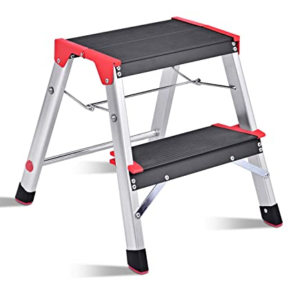 Giantex Aluminum 2 Step Ladder Folding Non-Slip Lightweight 330lbs Capacity  Platform Stool Folding Stepladder Step Stool with Non-Slip Pedal and Wide