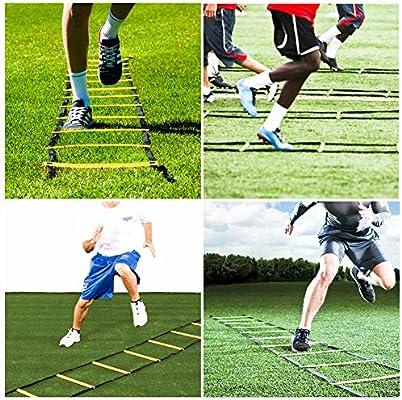 6m escalera ágil de alta intensidad del equipo de entrenamiento de velocidad juego de pies de escalera plana ajustable es muy adecuado para el entrenamiento de la aptitud del pie de fútbol,Amarillo: